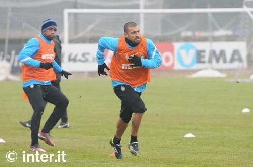 Ultimo allenamento ad Appiano: Milito e Samuel in gruppo, Alvarez ancora a parte