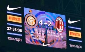 Inter-Milan 4-2 tabellone San Siro