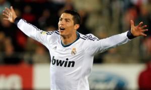 Real Madrid's Cristiano Ronaldo celebrates his second goal against Mallorca in La Liga
