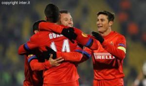 Partizan-Inter esultanza Guarin Cassano Zanetti