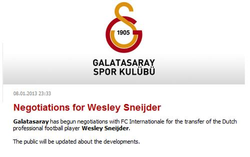 Galatasaray Sneijder comunicato