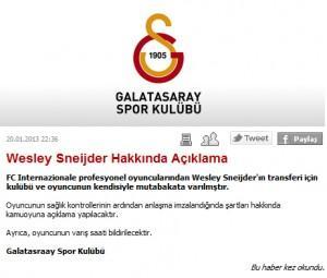 Galatasaray annuncio Sneijder