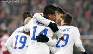 Cluj-Inter esultanza Guaro Alvarez