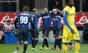 Inter-Chievo esultanza squadra
