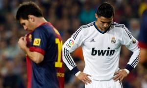 Messi walks past Ronaldo