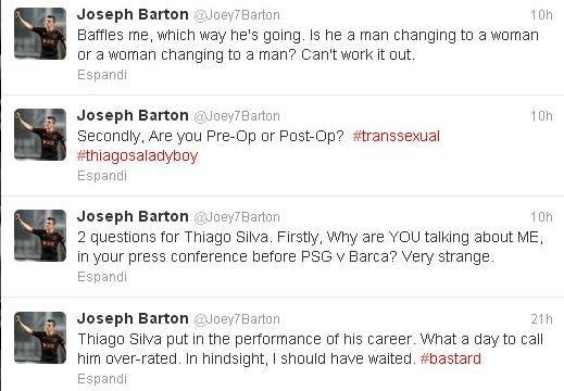Joey Barton Twitter Thiago Silva