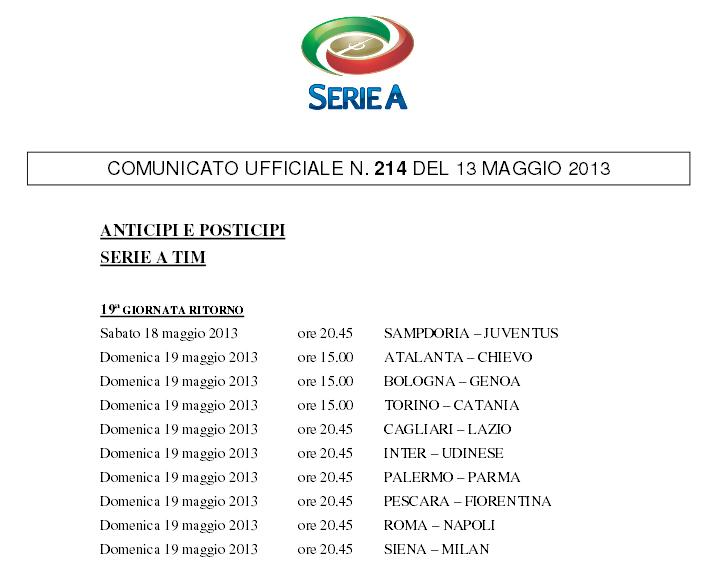 Serie A ultima giornata