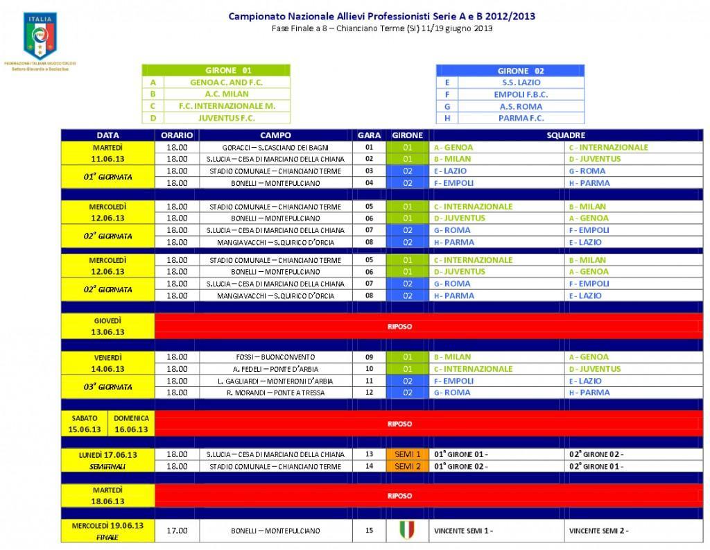 Calendario Final Eight Allievi A