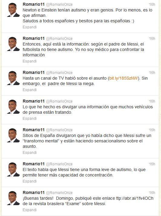 tweet Romario su Messi