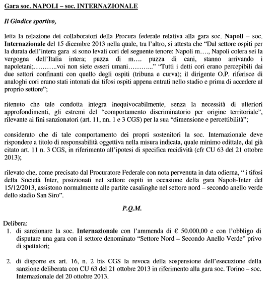 Tosel chiusura curva derby e Chievo