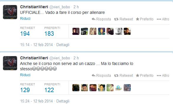 Christian Vieri Tweet