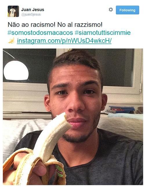 Juan Jesus Twitter siamo tutti scimmie