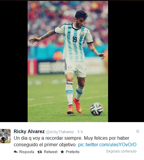 Alvarez esordio Argentina Twitter