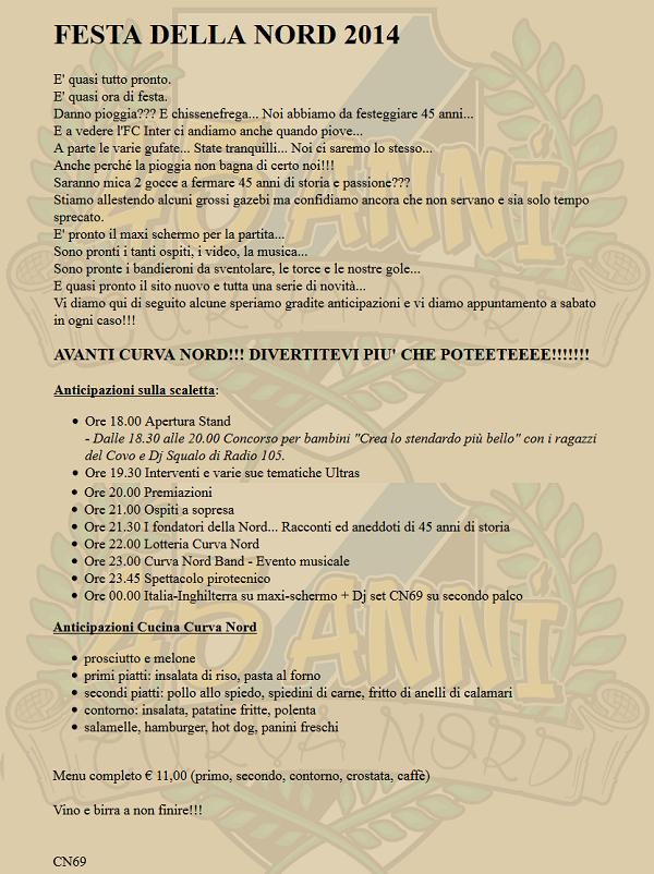 Programma festa Curva Nord 2014