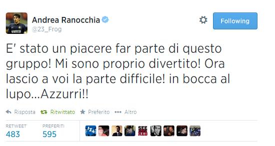 Tweet Ranocchia Italia