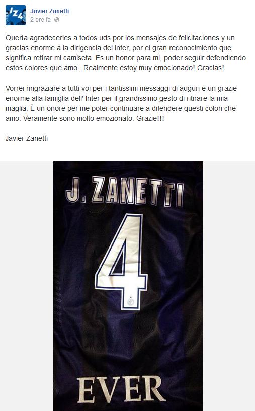 Messaggio Javier Zanetti