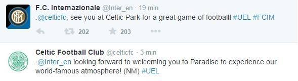 Inter cELTIC tWITTER