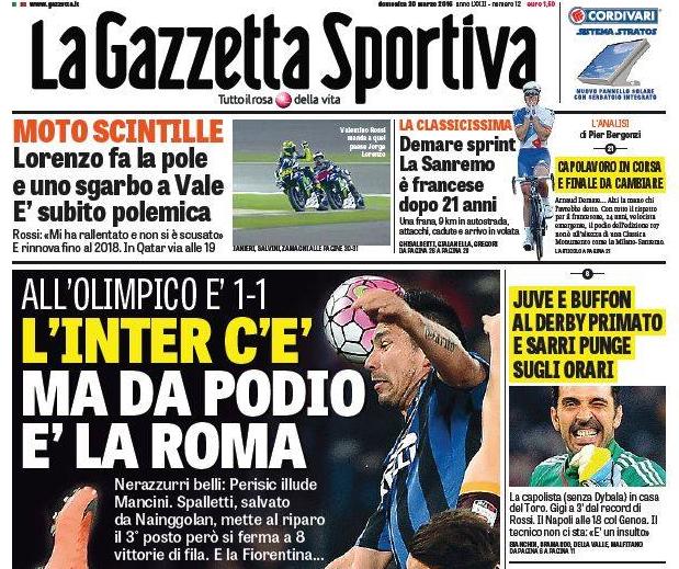 RASSEGNA STAMPA - GdS: L'Inter c'è ma da podio è la Roma