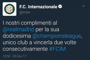 tweet inter real madrid
