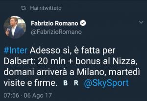 dalbert inter tweet romano