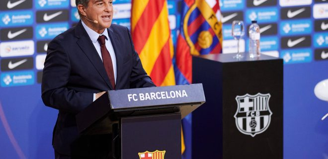 March 25, 2021, Barcelona, Spain: Joan Laporta during the presentation of Pau Gasol as new FC Barcelona, Barca Basketball player at Palau Blaugrana in Barcelona, Spain. Barcelona Spain - ZUMAd159 20210325_zia_d159_015 Copyright: xThiagoxPrudenciox