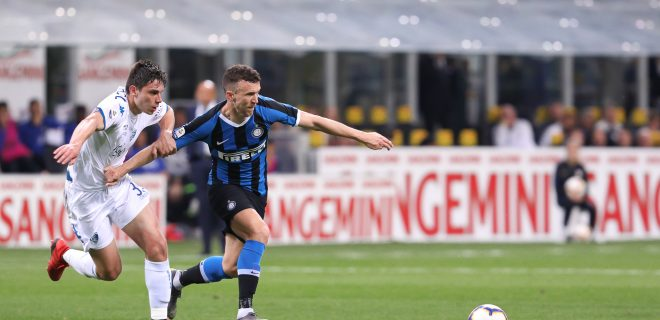 Italy, Milan, may 26 2019: Perisic Ivan, fc Inter forward, fight for the ball in the first half during football match FC INTER vs EMPOLI, Serie A Tim 2018/2019 day38, San Siro stadium
