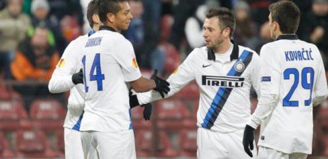 Cluj-Inter esultanza squadra