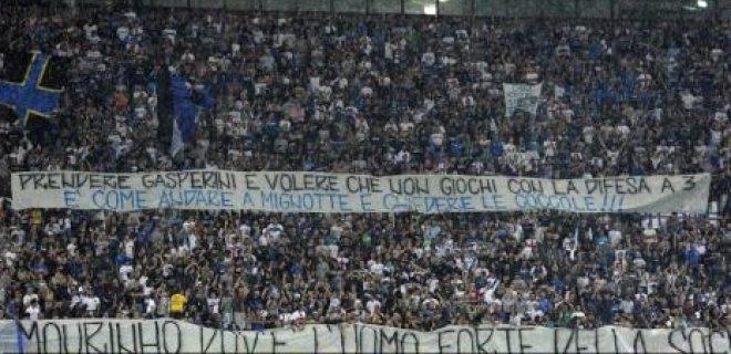 Curva Nord striscioni Inter-Roma