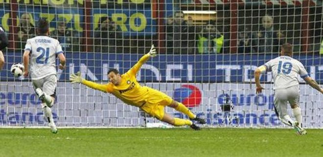Inter-Atalanta rigore Denis