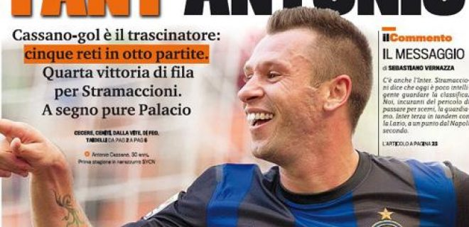 Inter Gazzetta prima pagina lunedì 22 ottobre