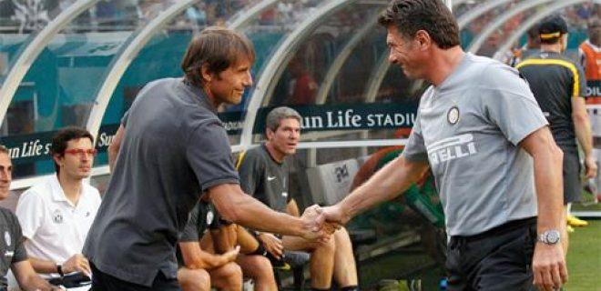 Inter vs Juventus Mazzarri saluta Conte