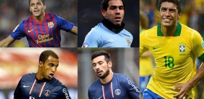 Lucas, Paulinho, Tevez, Sanchez, Lavezzi
