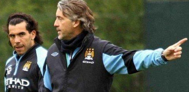 Mancini-Tevez allenamento
