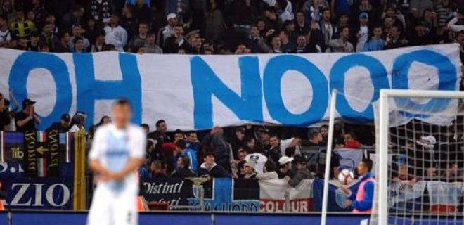 Striscione Oh noooo Lazio Olimpico (2)