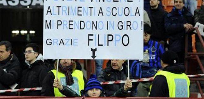 Striscione bambino Inter-Bologna
