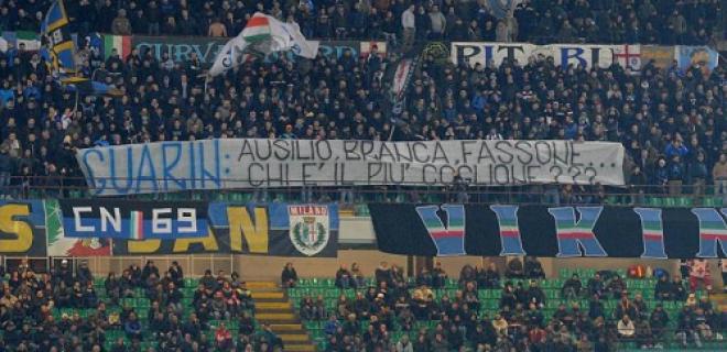 Striscione contro dirigenza Inter-Sassuolo