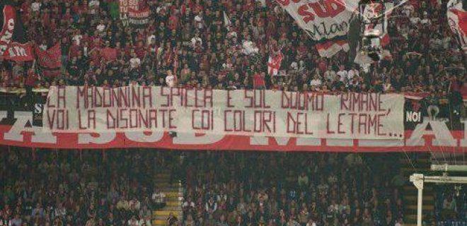 Striscione errore Milan derby