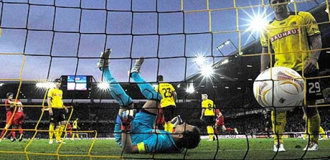 Liverpool's Andre Wisdom after scoring past Marco Wölfli of Young Boys in the Europa League