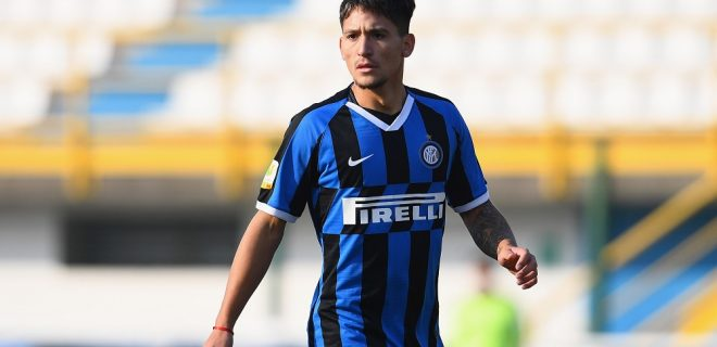 SESTO SAN GIOVANNI, ITALY - FEBRUARY 08:  Martin Satriano of FC Internazionale in action during the Primavera 1 match between FC Internazionale U19 and SSC Napoli U19 at Stadio Breda on February 8, 2020 in Sesto San Giovanni, Italy.  (Photo by Claudio Villa - Inter/Inter via Getty Images)