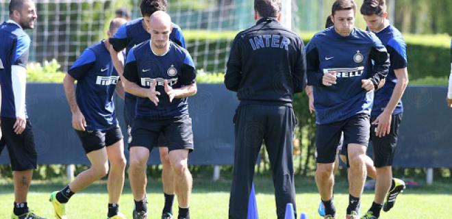 scatti allenamento Cambiasso Zanetti